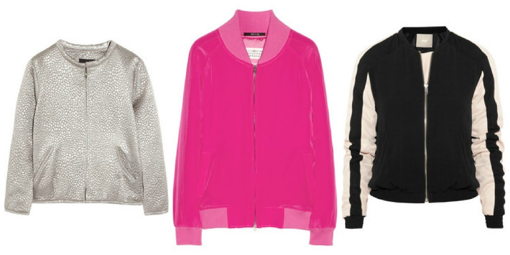 Bomber jackets found on Net-a-Porter: l-r, Isabel Marant, Maison Martin Margiela, Maje