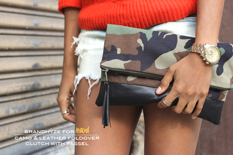 Camo and Leather Foldover Clutch with Tassel 1