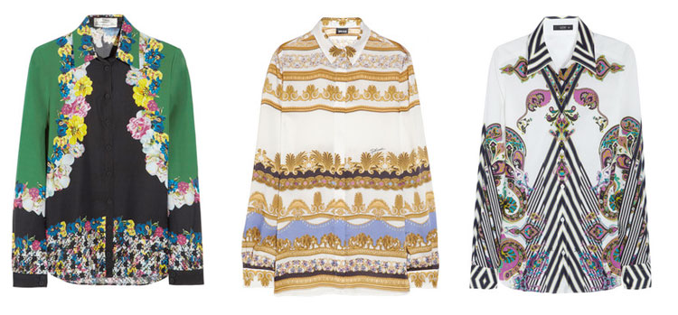 Inspiration: Boldly printed silk shirts by Erdem, Just Cavalli and Etro. Available at Net-a-Porter.