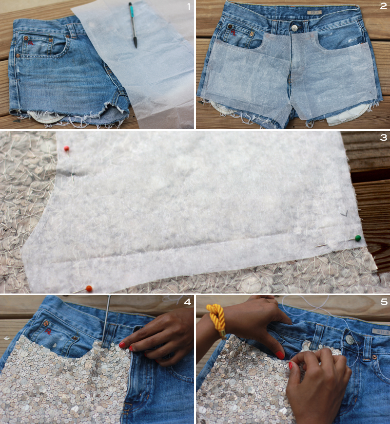 Sequin Embellished Denim Shorts 4