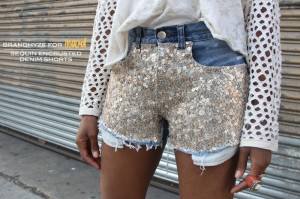 Sequin Encrusted Denim Shorts 1