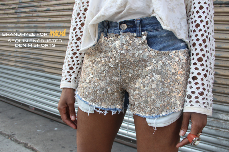 Sequin Encrusted Denim Shorts 1