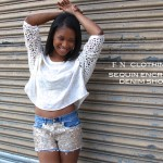 Sequin Encrusted Denim Shorts 5