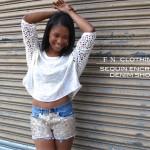 Sequin Encrusted Denim Shorts 5