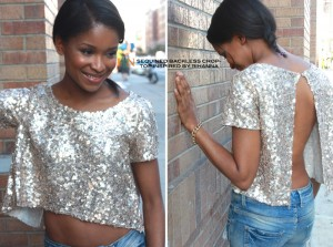 Sequined Backless Crop Top Inspired by Rihanna 5