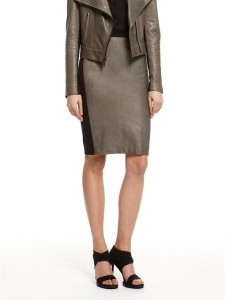 DKNY leather and ponte skirt