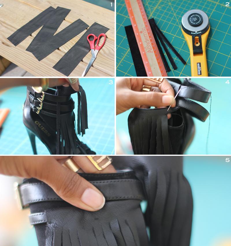 Leather Fringe Heels 4