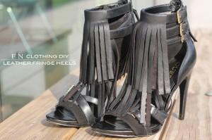Leather Fringe Heels 5B