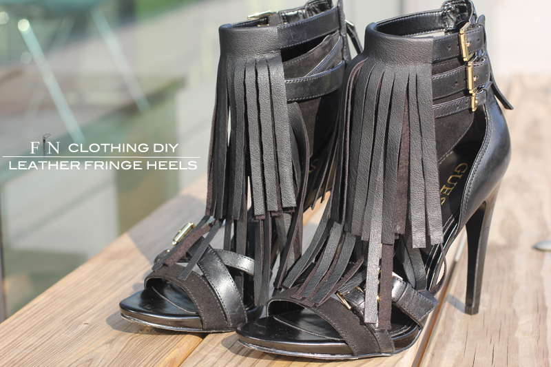 Leather Fringe Heels 5B
