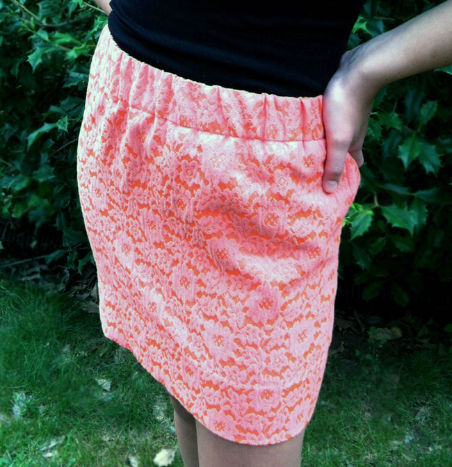 This is a skirt I made using a poly brocade by Marc Jacobs, also found at Mood NYC.