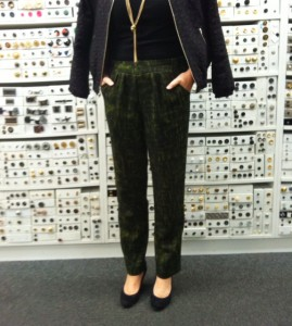 Chic elastic waist pants made from Oscar de la Renta wool from Mood Fabrics  and Simplicity 1808