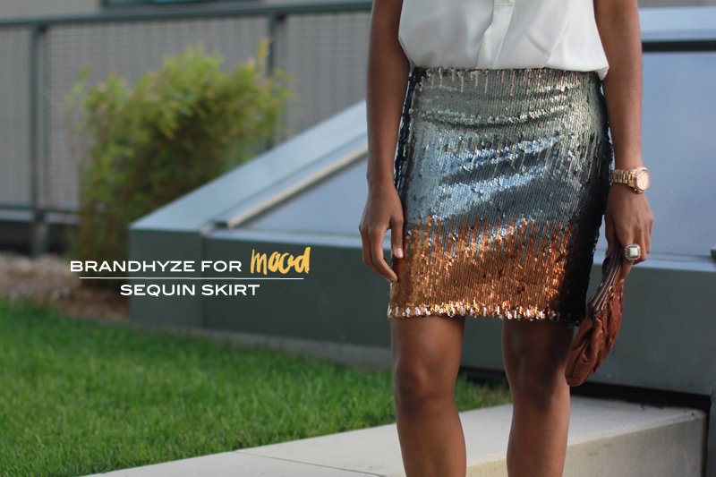 Sequin Skirt made with sequin fabric from Mood Fabrics.