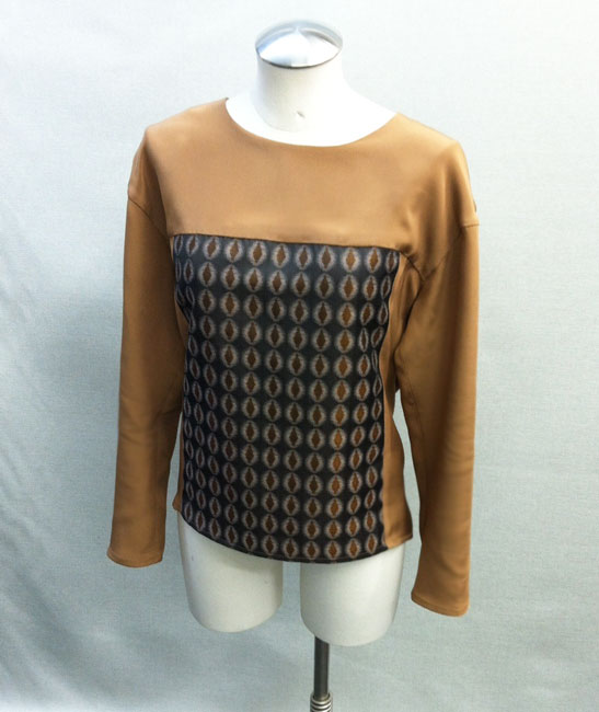 4-ply silk and brocade top