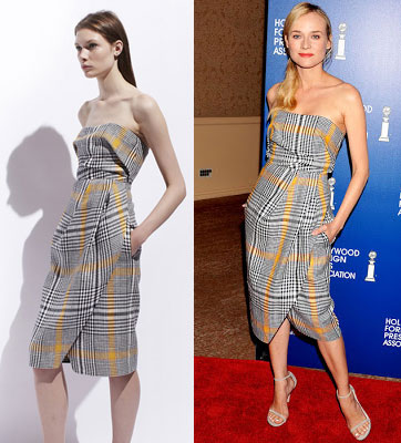 Carven plaid dress from Resort 2014 as worn by Diane Kruger.