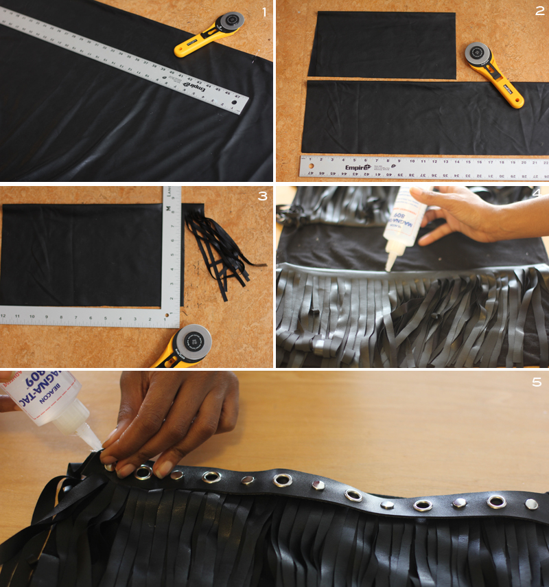 Leather fringe skirt made with faux leather from Mood Fabrics.