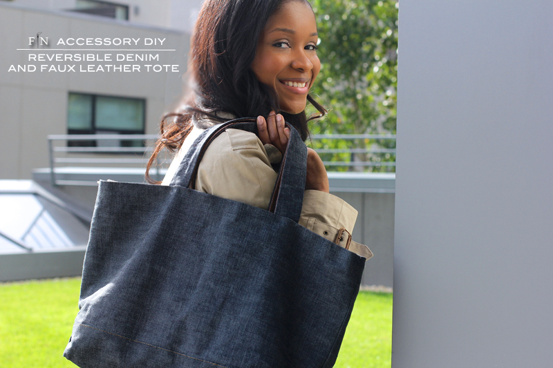 Reversible Denim and Faux Leather Tote made with Mood Fabrics materials and supplies.