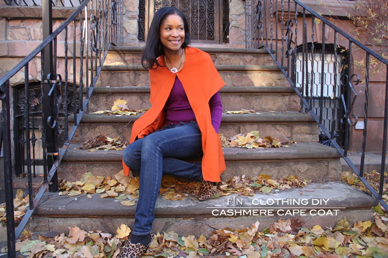 Cape coat made with cashmere from Mood Fabrics NYC.