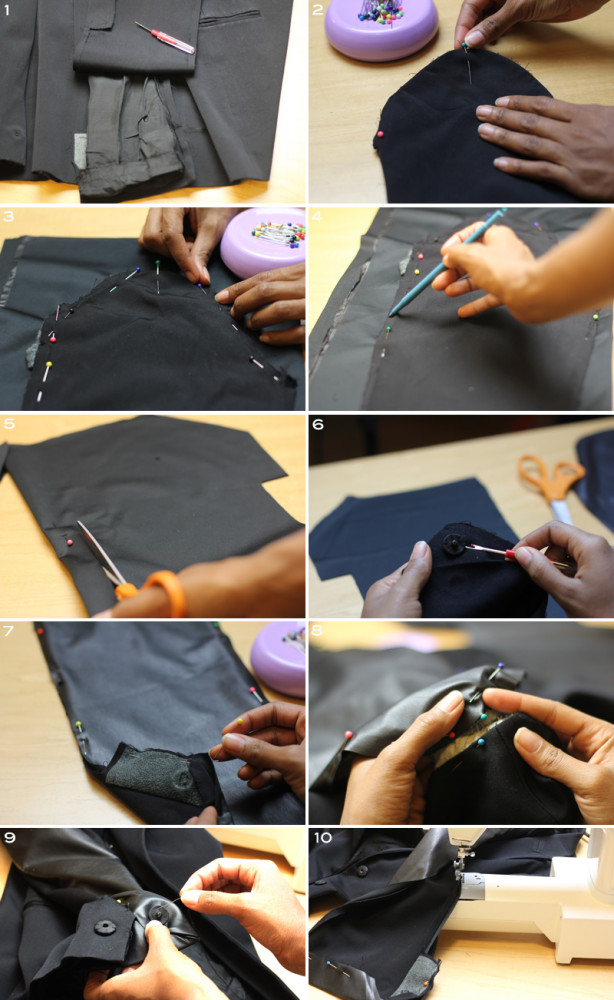 Repurposed blazer made chic using faux leather from Mood Fabrics to make sleeves.