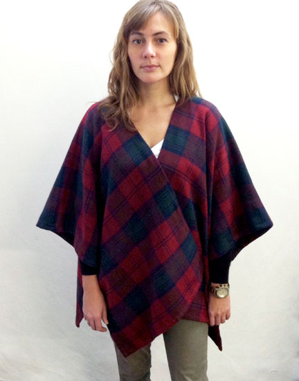 Easy-to-sew poncho made with plaid wool tartan from Mood Fabrics NYC.