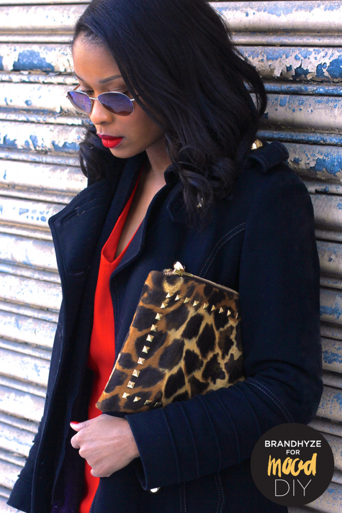 Faux Calf Hair Leopard Studded Clutch made with fabric and supplies from Mood NYC.