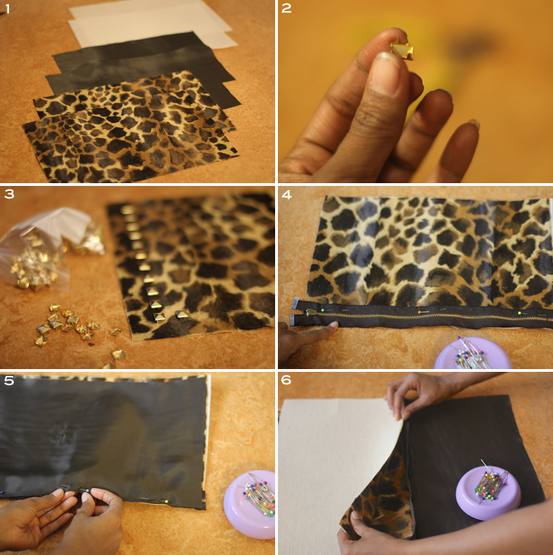 Faux Calf Hair Leopard Studded Clutch 3