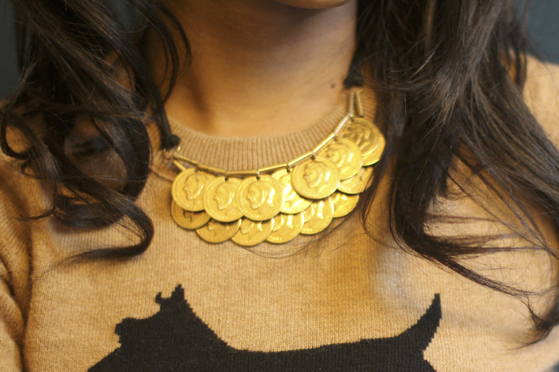 DIY gold coin pendant necklace modeled after one seen in Anthropologie and made with supplies from Mood Fabrics NYC.