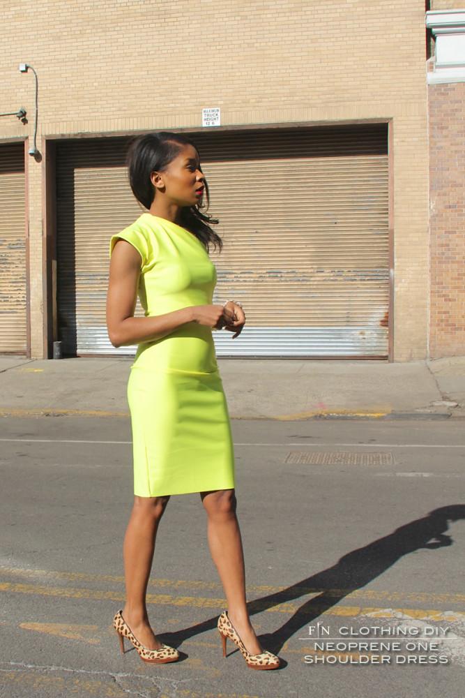 Neoprene One Shoulder Dress 6A