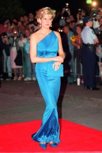Princess Diana in a blue silk gown by Versace himself, 1996.