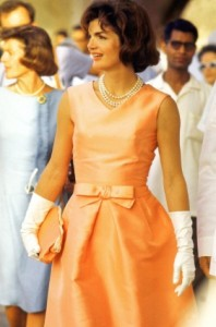 First Lady Jackie Kennedy in a silk zibe(r)line dress by Oleg Cassini.  Photo: Art Rickerby/Time Life Pictures/Getty Images