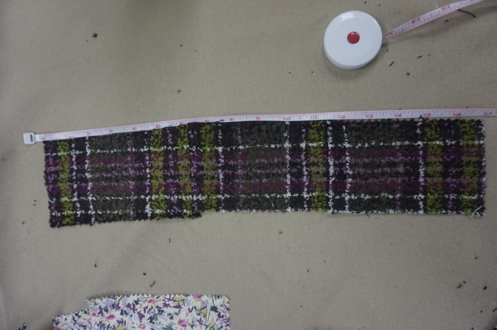 """Cut out a gusset of 3"""" by 16"""". Stitch swatches together to achieve length."""