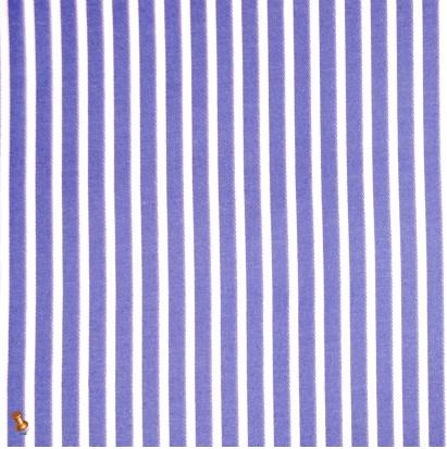 Italian Blue & White Bengal Striped Cotton Denim