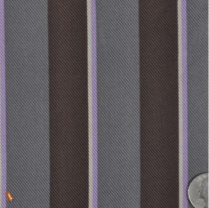 Charcoal Gray and Dark Coffee Shadow Striped Silk Twill