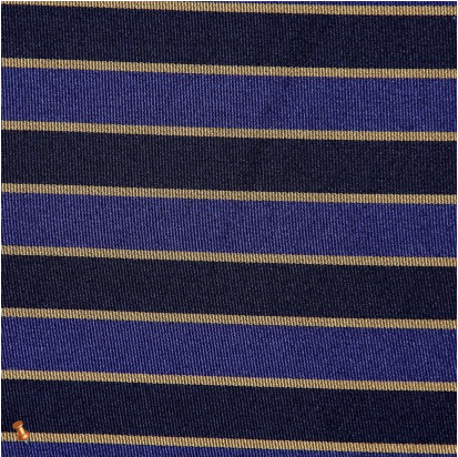 Italian Blue and Black Regimental Striped Polyester Woven