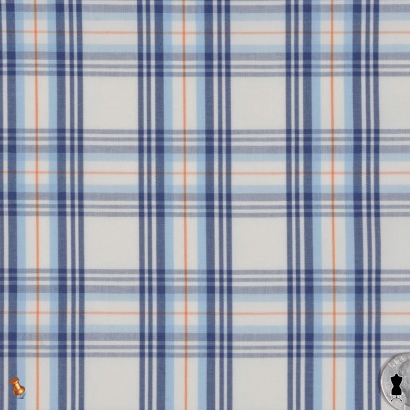 Off-White/Clay/Navy/Powder Blu Tartan Plaid Shirting