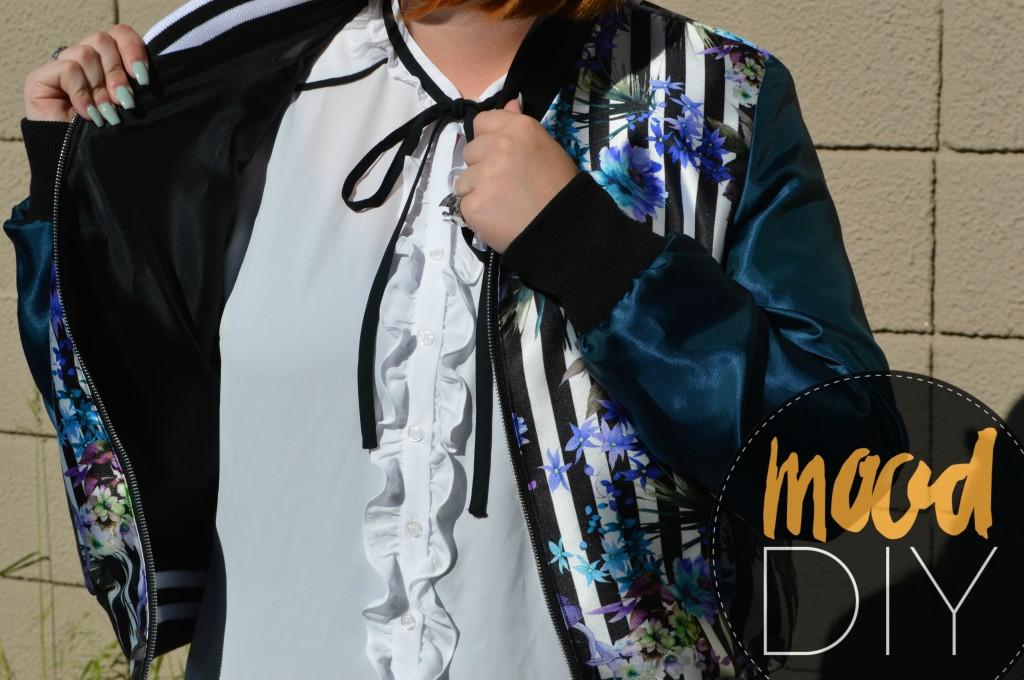 diy sewing floral bomber jacket