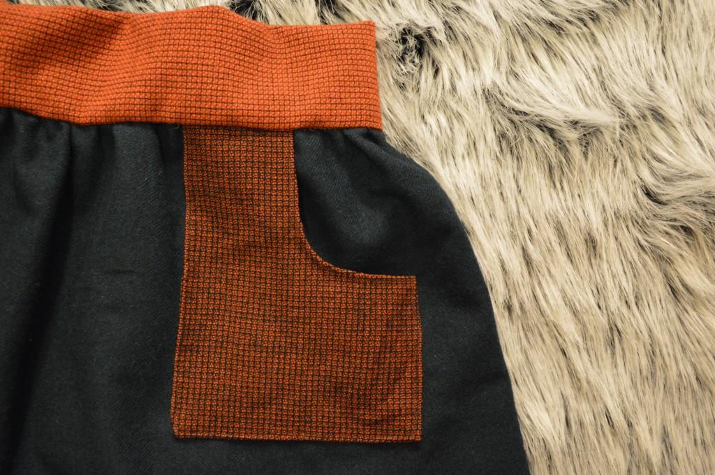 sewing wool color block skirt diy
