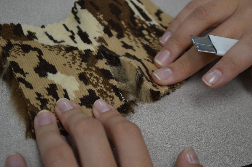 Cut the Backing |  Tan/Brown Leopard Knitted Faux Fur