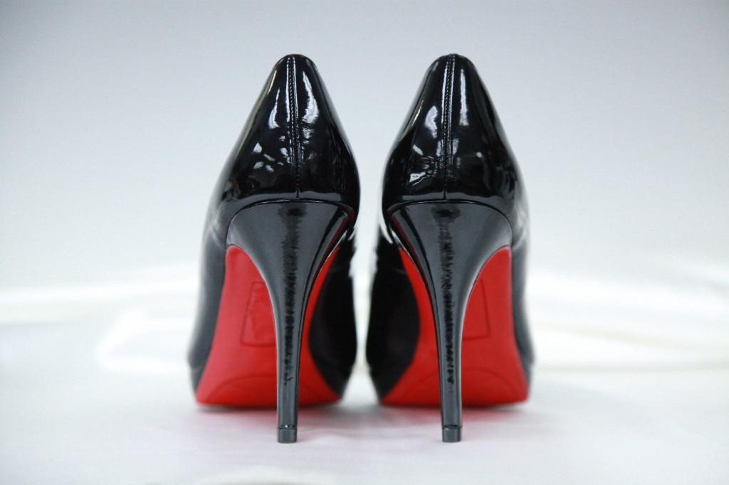 black heels with red soles