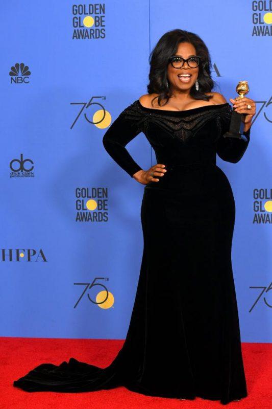 Oprah Winfrey wearing a custom-made Atelier Versace Gown