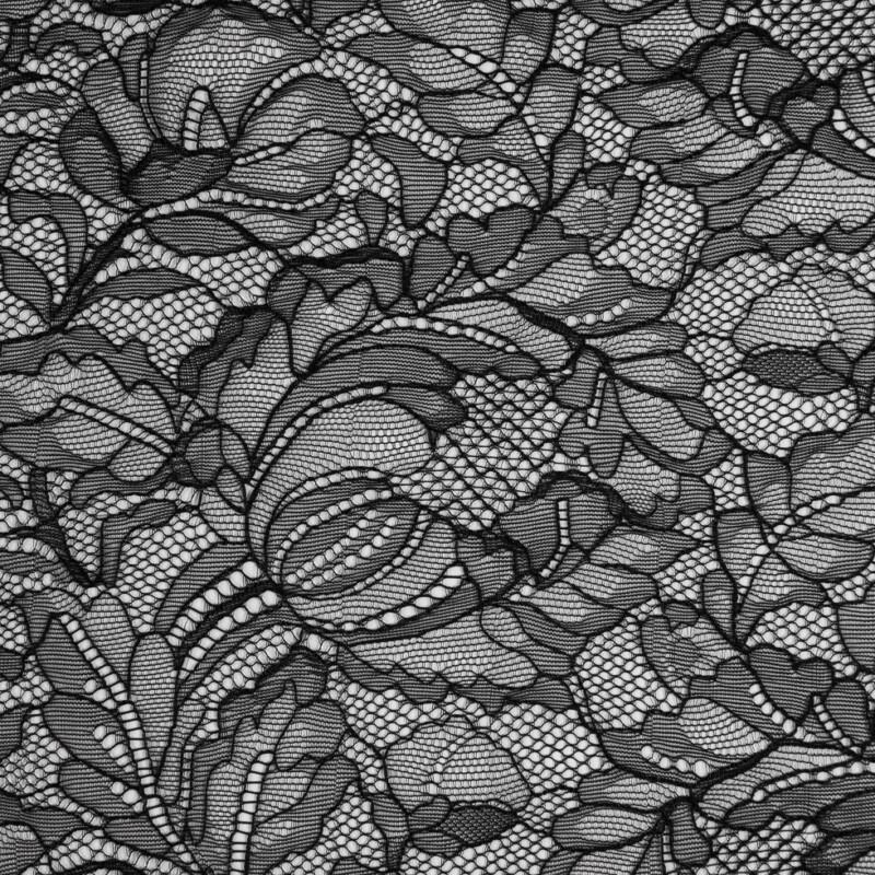 Black Floral Lace w Scalloped Eyelash Edges