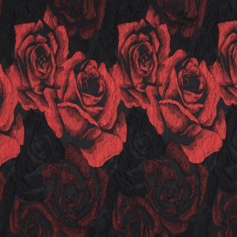 Black and Red Textural Floral Brocade