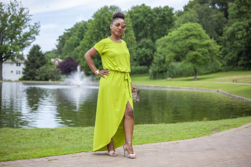 knit dress, maxi dress, bamboo knit, belted dress, wrap dress