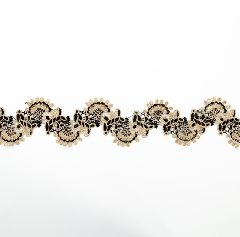 """Italian Metallic Gold and Black Scalloped Lace Trimming - 4"""""""