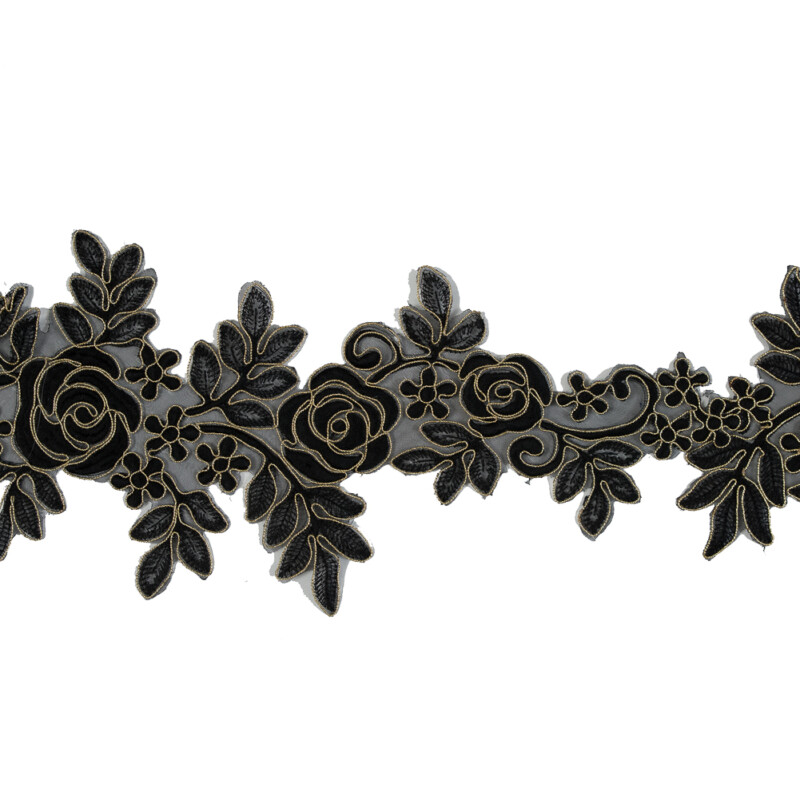 """Metallic Gold and Black Re-Embroidered Floral Organza Trim - 6"""""""
