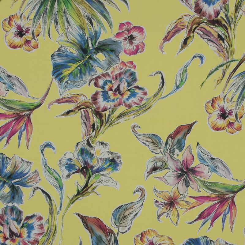 Mood Exclusive Creativite Epanouie Vibrant Yellow Floral Cotton Poplin