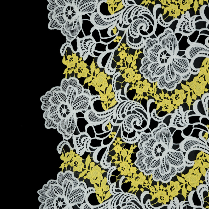 White and Yellow Floral Embroidered Guipure Lace