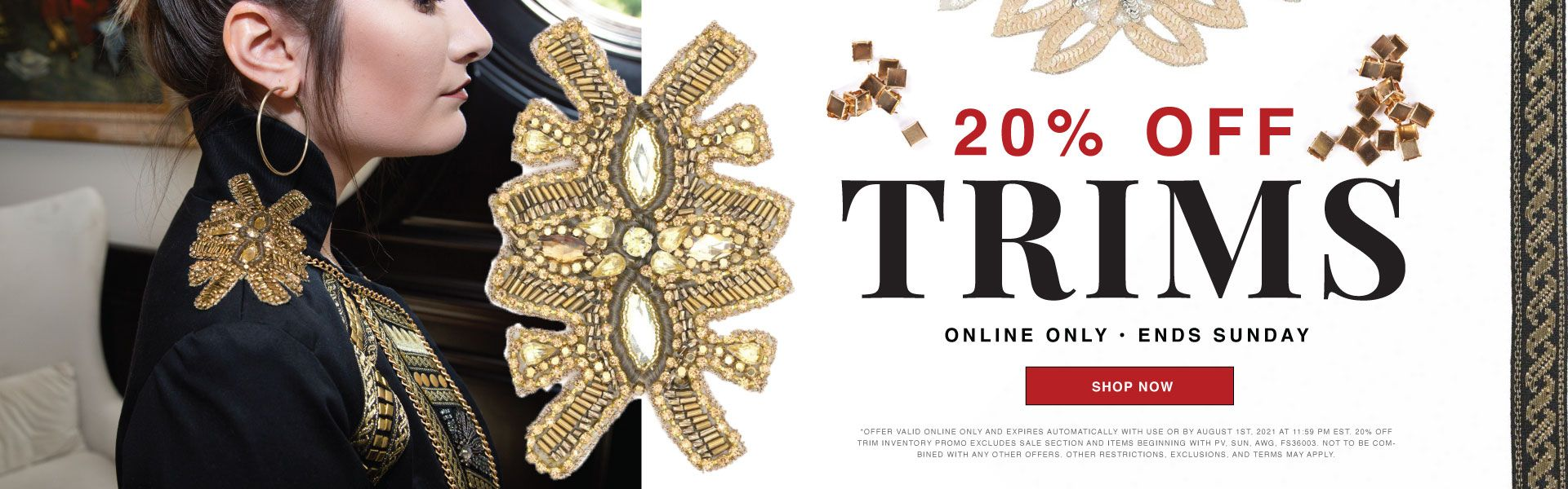 Sale! 20% Off Trims - Shop Ribbons, Cords, and Chains Today!