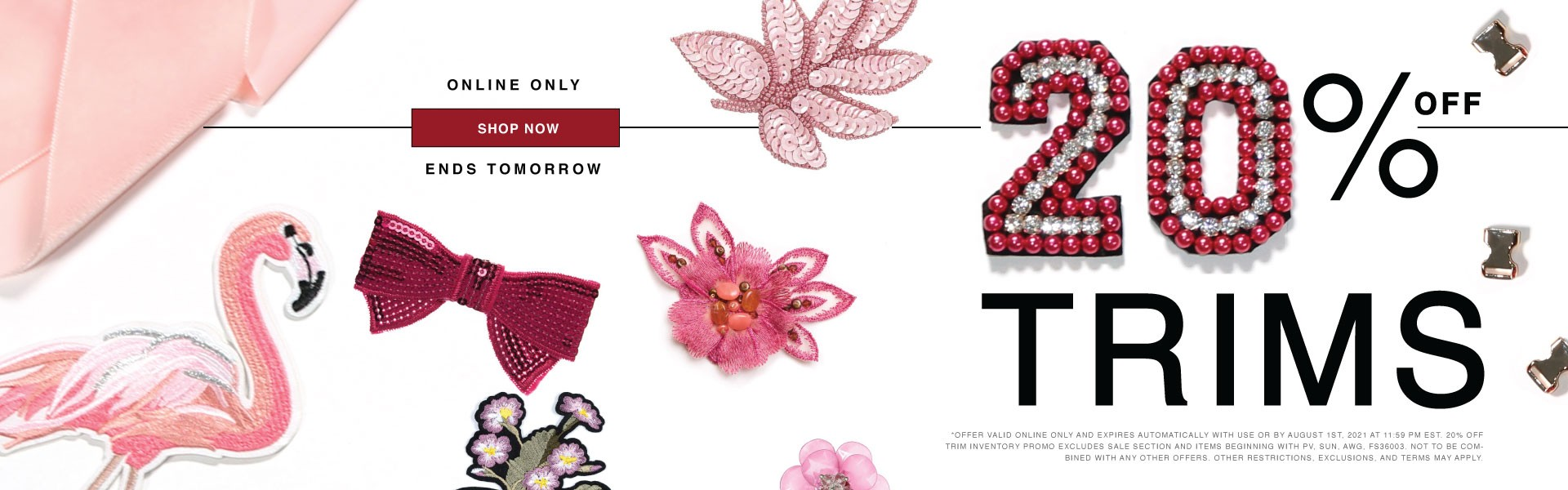Shop 20% Off Trims - Explore Ribbons, Cords and Chains Now!