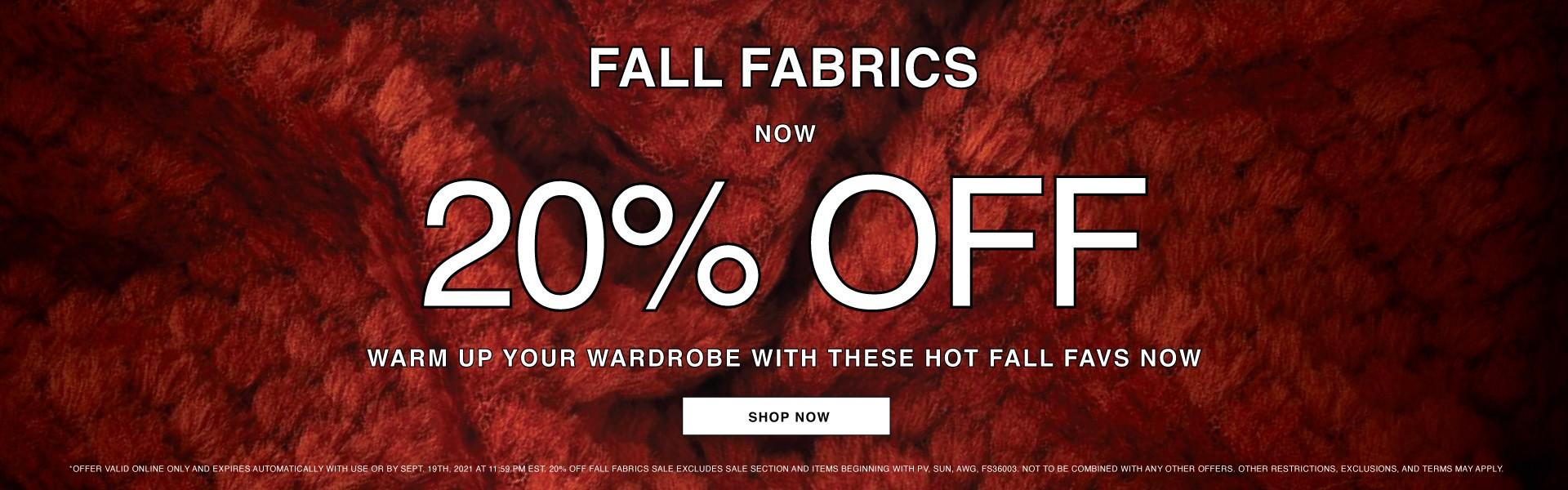 Get Cozy! Shop 20% Off Fall Fabrics Now!
