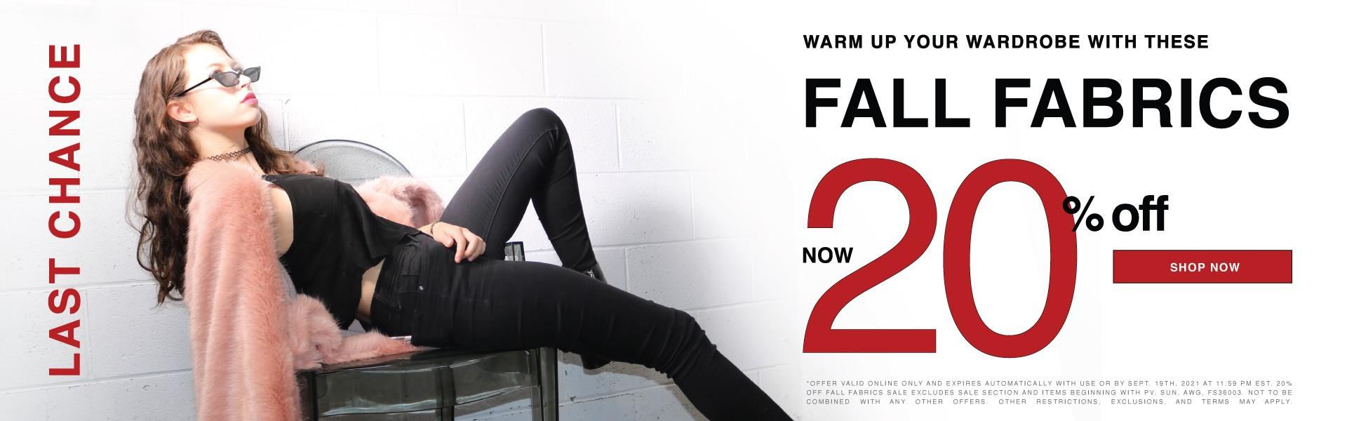 Get Cozy! Shop 20% off Fall Fabrics Today!